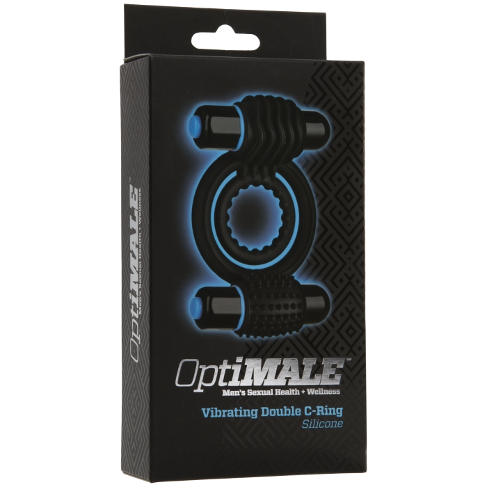 OPTIMALE - VIBRATING DOUBLE C-RING SILICONE - BLACK