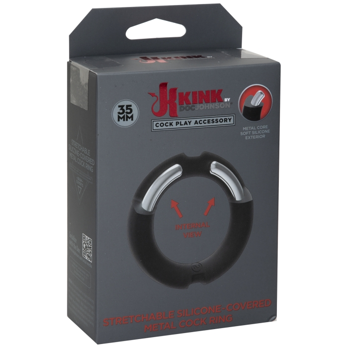 KINK SILICONE COVERED METAL COCKRING 35MM - BLK