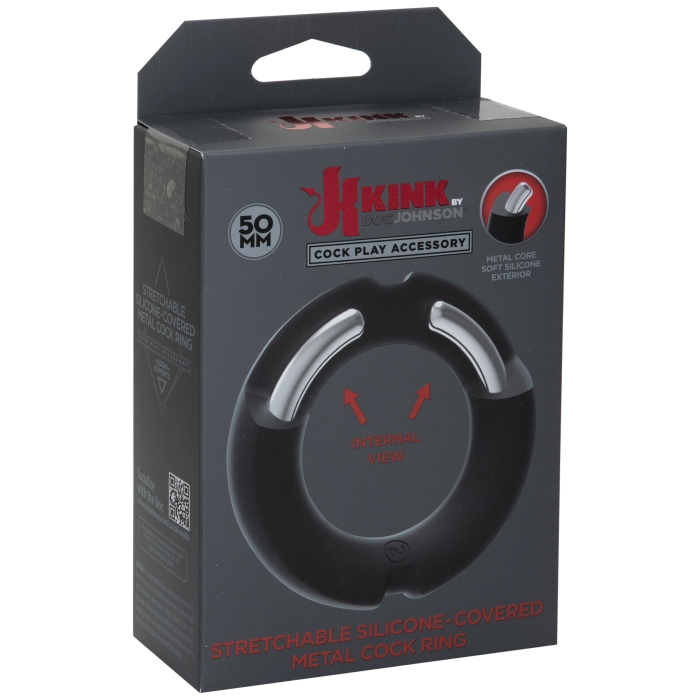 KINK SILICONE COVERED METAL COCKRING 50MM - BLK