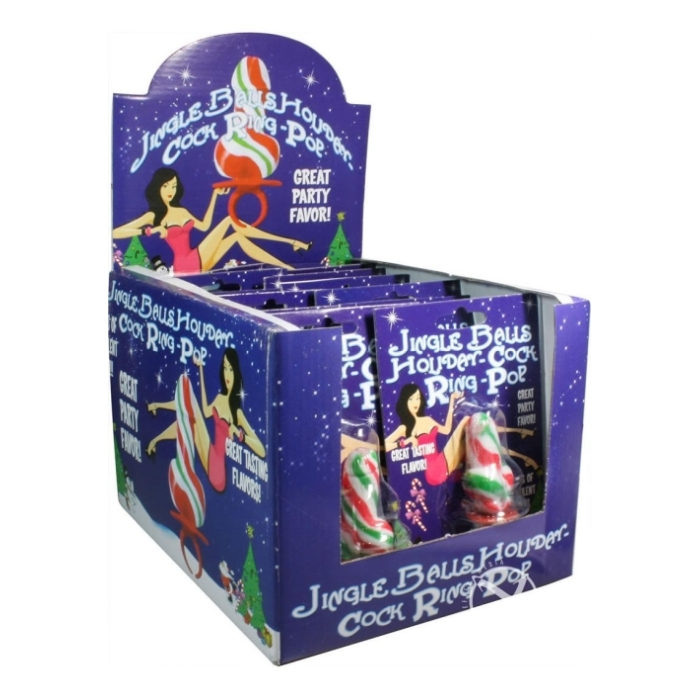JINGLE BALLS HOLIDAY COCK RING POPS. 12PCS/DISPLAY