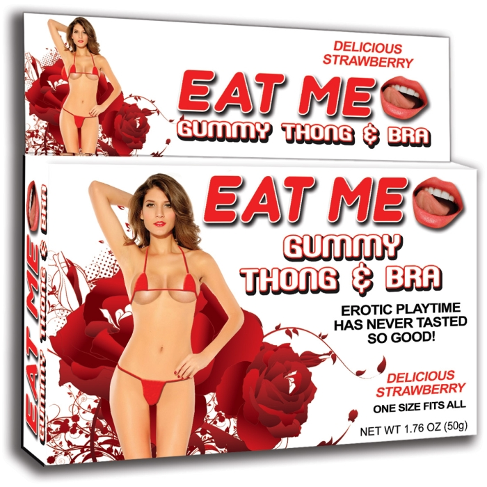 EAT ME GUMMY THONG & BRA - STRAWBERRY