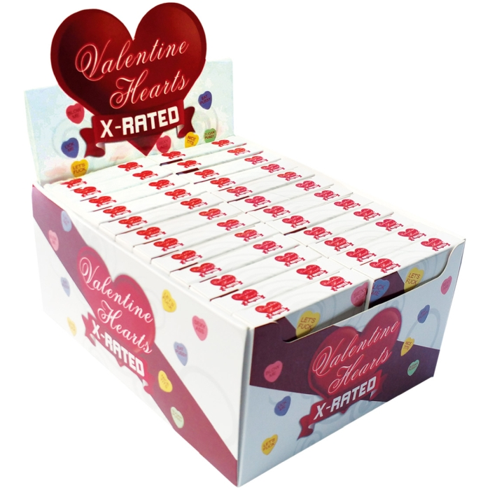 VALENTINES X RATED HEART CANDY ASSORTED SAYINGS - 24 BOX
