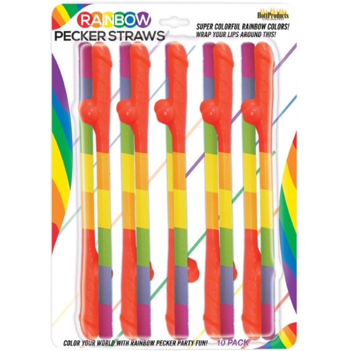 RAINBOW PECKER STRAWS - 10PK