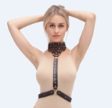 BODY HARNESS PVC LEATHER - BLACK