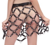 CHAIN SKIRT LEATHER/METAL - BLK/SILVER - MED