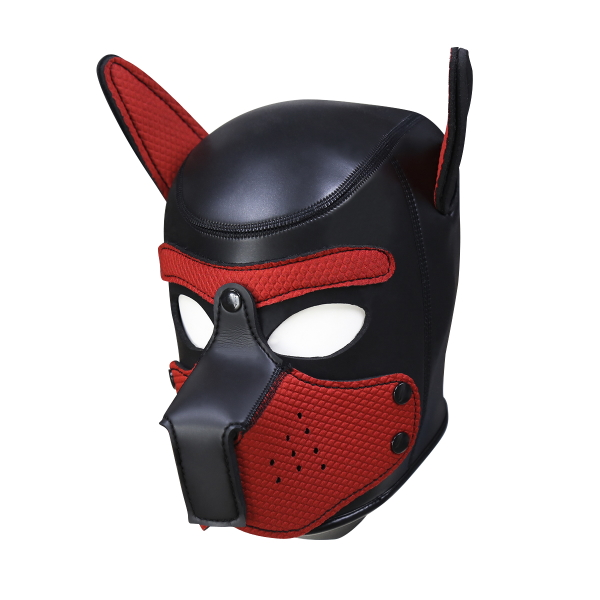 PUPPY HOOD - SPANDEX/NEOPRENE - BLACK/RED - LRG
