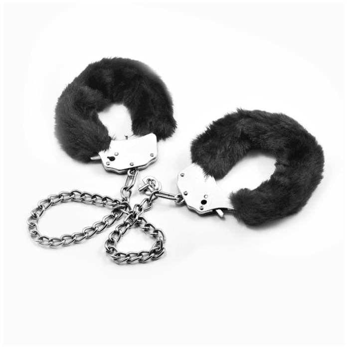 FETISH PLEASURE FLUFFY LEG CUFFS - BLACK