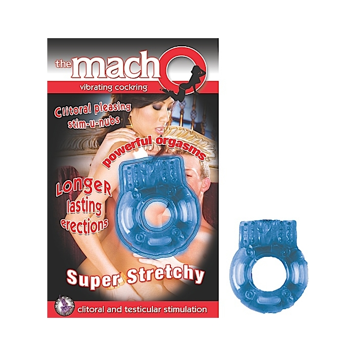 THE MACHO VIBRATING COCKRING-BLUE