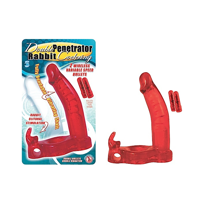 DOUBLE PENETRATOR RABBIT COCKRING - RED