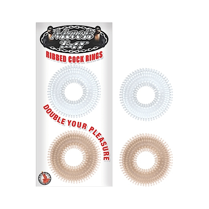 MACK TUFF - RIBBED COCK RINGS 2 PACK - BLACK/CLEAR