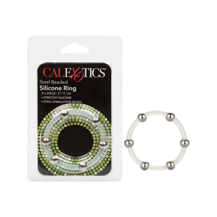STEEL BEADED SILICONE RING - XLARGE