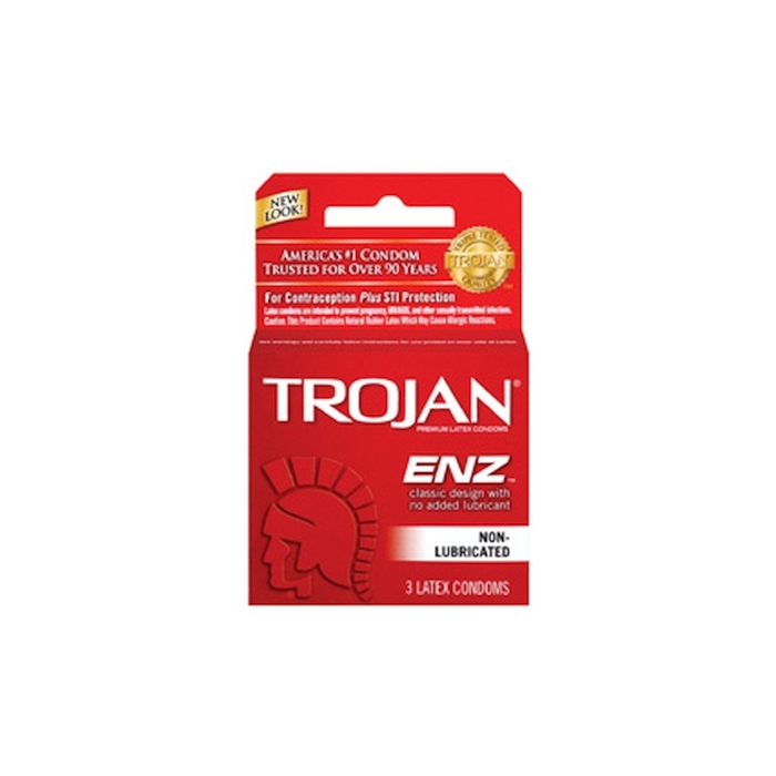 TROJAN 3'S ENZ REG DRY - NON LUBRICATED (RED)