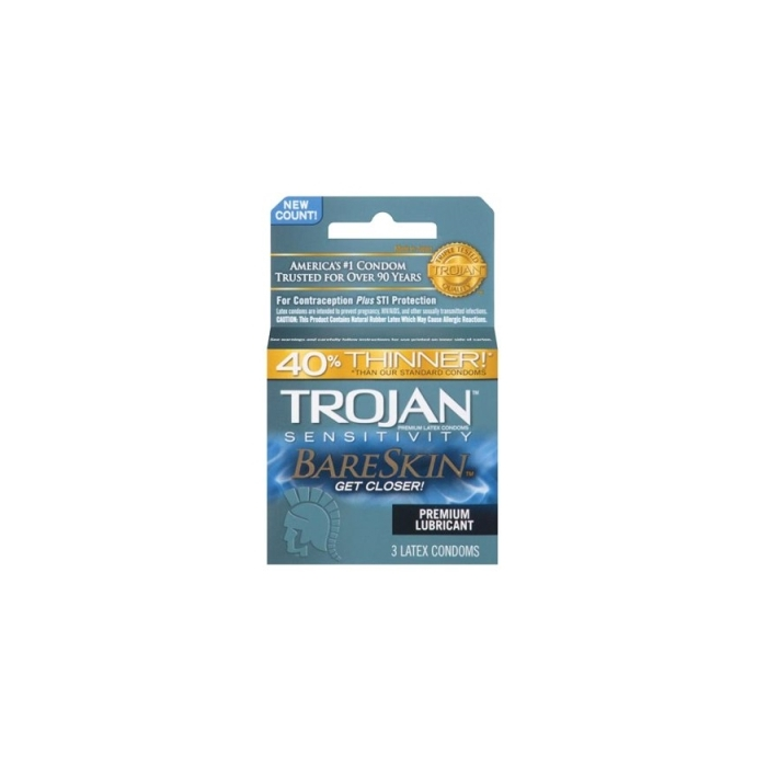 TROJAN 3'S BARESKIN CONDOMS (B/GREY)